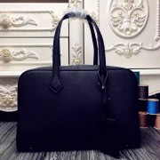 Luxury Imitation Hermes Victoria II 35cm Bag In Black Leather HJ01279