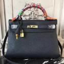 1:1 Imitation Hermes Black Clemence Kelly 28cm Bag HJ00368