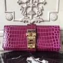 1:1 Knockoff Hermes Medor Clutch Bag In Fuchsia Crocodile Leather HJ00024
