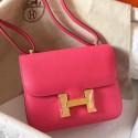AAAAA Imitation Replica Hermes Mini Constance 18cm Rose Lipstick Epsom Bag HJ01171