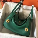 Best Quality Hermes Vert Vertigo Lindy 30cm Clemence Handmade Bag HJ00716