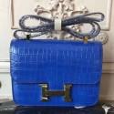 Designer Luxury Copy Hermes Blue Constance MM 24cm Crocodile Bag HJ00144