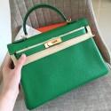 Fake Hermes Bamboo Clemence Kelly Retourne 28cm Handmade Bag HJ00499