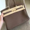Fake Hermes Etoupe Clemence Birkin 35cm Handmade Bag HJ00377