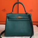 Fake Hermes Malachite Clemence Kelly 25cm Retourne Handmade Bag HJ00601