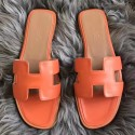 Fake Hermes Oran Sandals In Orange Swift Leather Replica HJ01045