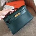 Fake Wholesale Hermes Malachite Epsom Kelly Pochette Handmade Bag HJ01088