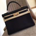 Fashion Replica Faux Designer Hermes Black Clemence Kelly Retourne 28cm Handmade Bag HJ01197