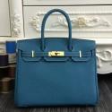Hermes Birkin 30cm 35cm Bag In Jean Blue Clemence Leather HJ00083
