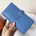 Hermes Blue Jean Epsom Bearn Gusset Wallet HJ01188