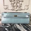 Hermes Blue Lin Crocodile Kelly Cut Clutch Bag HJ00022