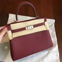Hermes Bordeaux Clemence Kelly 25cm Retourne Handmade Bag HJ00432