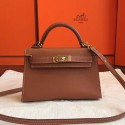 Hermes Gold Swift Kelly Mini II 20cm Handmade Bag HJ00605