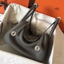 Hermes Gris Mouette Lindy 30cm Clemence Handmade Bag HJ00480