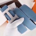 Hermes H Belt Buckle & Blue Clemence 32 MM Strap Replica HJ01121