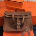 Hermes Halzan Bag In Brown Clemence Leather Replica HJ00965