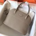 Hermes Tourterelle Clemence Bolide 27cm Handmade Bag HJ01110