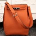 High End Hermes So Kelly 22cm Bag In Orange Leather HJ00242