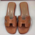 High Quality Imitation Designer Hermes Oran Sandals In Gold Swift Leather HJ00604