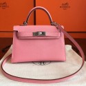 High Quality Luxury Hermes Rose Confetti Epsom Kelly Mini II 20cm Handmade Bag HJ00734