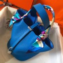 High Quality Replica Hermes Blue Hydra Picotin Lock PM 18cm Handmade Bag HJ00951