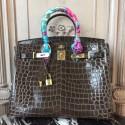Hot Hermes Birkin 30cm 35cm Bag In Cafe Crocodile Leather Replica HJ00373