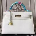 Hot Replica Hermes White Epsom Kelly 32cm Sellier Bag HJ00256