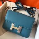 Imitation AAA Knockoff Hermes Epsom Constance 24cm Blue Jean Handmade Bag HJ00312