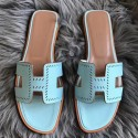 Imitation Best Quality Cheap Hermes Oran Perforated Sandals In Blue Atoll Epsom Leather HJ01276