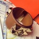 Imitation Cheap Hermes Brown Epsom Collier De Chien Bracelet Size S HJ00532