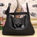 Imitation Fake Hermes Black Clemence Lindy 30cm Bag HJ00516