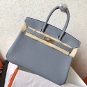 Imitation Hermes Blue Lin Clemence Birkin 25cm Handmade Bag HJ00885