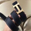 Imitation Hermes H Belt Buckle & Black Clemence 32 MM Strap Replica HJ00674