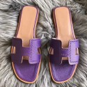 Imitation Hermes Oran Perforated Sandals In Purple Epsom Leather HJ00957