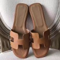 Imitation Hermes Oran Sandals In Brown Epsom Leather HJ00212