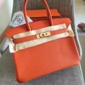 Imitation Hermes Orange Clemence Birkin 30cm Handmade Bag HJ00585