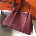 Imitation Top Copy Hermes Ruby Clemence Garden Party 30cm Handmade Bag HJ00901