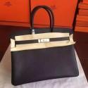 Knockoff Hermes Black Epsom Birkin 35cm Handmade Bag HJ00344