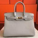 Knockoff Hermes Pearl Grey Clemence Birkin 35cm Handmade Bag HJ00823