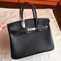 Luxury Hermes Black Swift Birkin 25cm Handmade Bag HJ00608