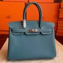 Luxury Hermes Blue Jean Epsom Birkin 35cm Handmade Bag HJ01307
