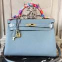 Luxury Hermes Blue Lin Clemence Kelly 32cm Retourne Bag HJ01129