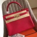 Luxury Imitation Replica Hermes Red Clemence Kelly Retourne 32cm Handmade Bag HJ00051