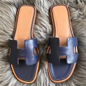 Perfect Hermes Oran Sandals In Navy Swift Leather HJ00100