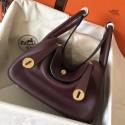 Quality High Quality Imitation Hermes Bordeaux Lindy 26cm Clemence Handmade Bag HJ00468