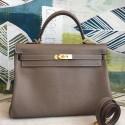 Replica Designer Fake Hermes Taupe Clemence Kelly 35cm Handmade Bag HJ01226