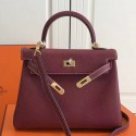Replica Faux Hermes Bordeaux Clemence Kelly 25cm GHW Bag HJ00282