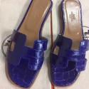 Replica Luxury Hermes Blue Crocodile Oran Sandals HJ01015
