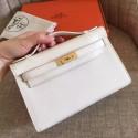 Replica Luxury Hermes White Epsom Kelly Pochette Handmade Bag HJ01277