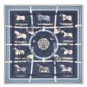 Top Replica Hermes Blue H Imprimeur Fou Couvertures D'Ex-Libris Shawl 140cm HJ00420